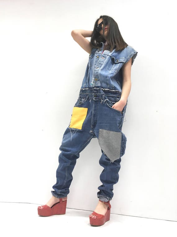 Oversize Denim Jumpsuit Jean Playsuite Jeans LOLA DARLING Lee Jacket + Levi's Vintage Recycled Fabric Patch Yellow Gray Tailoring Limited Ed