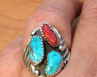 STERLING SILVER Native American TURQUOISE Coral Ring Size 8.25