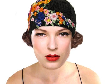 Floral Crochet Hat, Black Cloche Hat, Flapper Hat, 1920s Hat, Great Gatsby, Black Knit Hat, Statement Boho Beanie, Retro Hat, Gift For Her