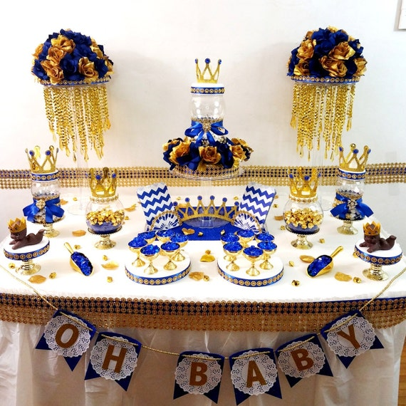 royal blue and gold baby shower candy buffet centerpiece with royal