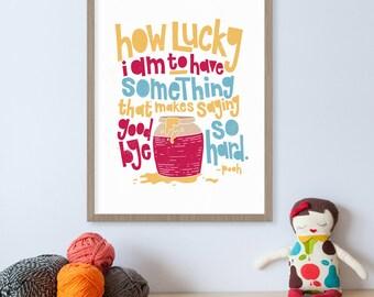 Winnie the Pooh Quote, Pooh Bear, Winnie-the-Pooh, Piglet, Children's Books, Nursery Decor, Baby Room Decor, How Lucky I Am, Honey Jar