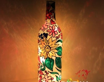 Tiffany lamp style with flowers and swirls painted Wine Bottle Light Lamp