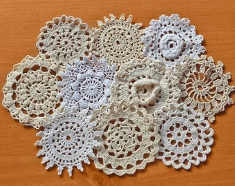 10 Vintage Crocheted Doilies, Small Crochet Snowflakes and Flowers, 2.5 to 3 Inch Doilies in White, Cream, Taupe, Beige, Ivory Colors