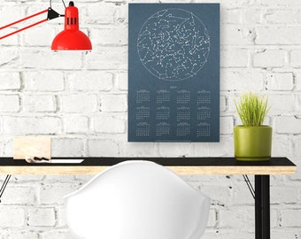 SALE 2017 Calendar.  Single page wall calendar. Constellations Design. Space Wall Art.