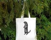 Otter Bag - River Otter Sea Otter - Illustrated Cotton Tote Bag - Book Bag - Gift for Animal Lover - Otter lover Cute Otter - Water Mammal