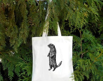 Otter Bag - River Otter Sea Otter - Illustrated Cotton Tote Bag - Book Bag - Gift for Animal Lover - Otter lover Cute Otter - Water Mammal