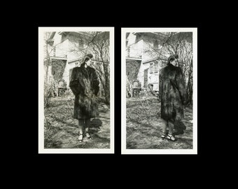 "2pc - Vintage Photo ""Modeling Her New Fur Coat"" Snapshot Antique Photo Old Black & White Photograph Found Paper Ephemera Vernacular - 62"