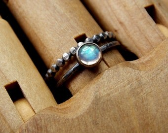 Size 5.75 Rainbow Moonstone and Solid Sterling Silver Rings, Ready to Ship