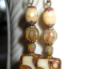 Brown Earrings Czech Glass Picasso Square Bead, Czech Melon Bead, Czech Oval & Czech Faceted Beads Tan - Beige