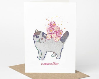 Exotic Shorthair Cat Card - Meowmallow (cat birthday card, funny cat card, cute cat card, blank cat card, sweets candy card)