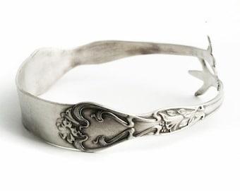 Poppy Flower Bracelet, Floral Cuff Bracelet, Antique Sterling Silver Spoon Bracelet, Gift Her, Sterling Flatware Jewelry, Size 6 7 8 9, 6393