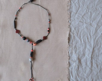 chunky tribal necklace with mixed knotted beads in black grey and coral tones - boho tribal large beads necklace - gift for her