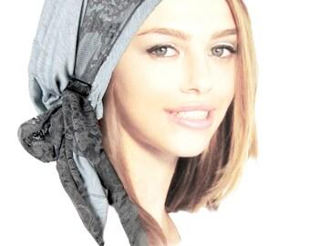 Gray Head Scarf Boho Chic Pre Tied Bandana Snood Head Scarves Tichel Hair Snood Chemo Head Scarf Vintage Floral Lace Wrap Tiny Buckles - 077