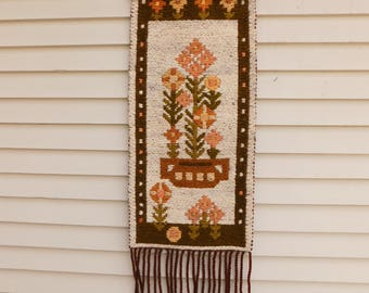 Vintage Woven Wool Textile Art Wall Hanging, MCM Decor