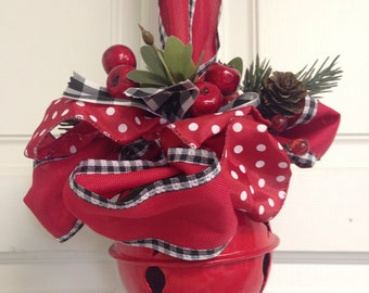 Red Christmas Bell-Red Sleigh Bell-Large Bell Ornament-Mistletoe Bell-Christmas Door Bell-Country Christmas-Annie Gray-Chimes-Polka Dots-Red