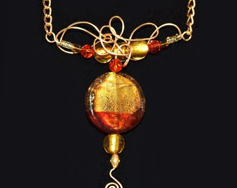 necklace, red, gold, gold foil focal bead, wire work, one of a kind, crystal, art glass, wife, sister, daughter, girlfriend, mom gift