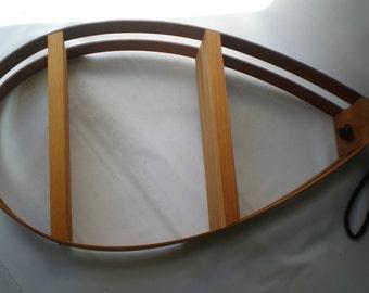 Mid Century Danish Modern Retro Bentwood Teardrop Hanging Shelf