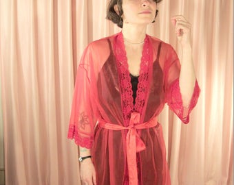 Sheer Red Lace Trimmed Lingerie Shorty Robe