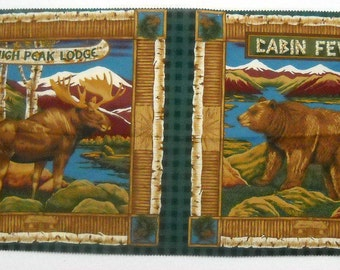 Moose Bear Cabin Fever Pillow Panel Quilt Fabric High Peak Lodge Concord Fabrics FREE SHIPPING