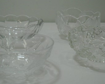 Vintage Lot Of 4 Etched Glass Flower Serving Candy Dishes FREE SHIPPING