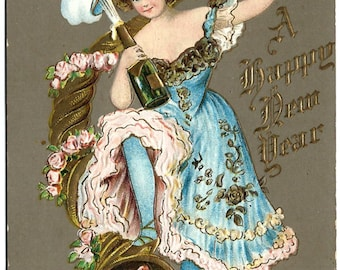 Beautiful Woman with Champagne Bottle & Glass, Happy New Year Postcard, Antique Embossed Ephemera c1910, FREE SHIPPING