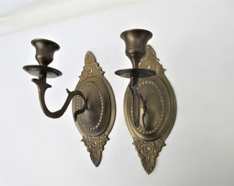 Vintage Brass Sconce, Candle Sconces, Brass Lighting, Pair of Brass Wall Sconces, Brass Candelabra