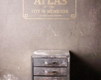 Vintage Metal Hardware Storage Box with Four Drawers