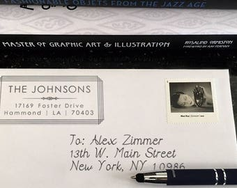 Personalized Address Stamp - Custom - Art Deco - New York - Original Design - Weddings - Home Office Stamper - Modern - Housewarming - DIY