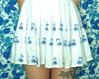 Vintage White Cotton Mini Full Skirt Dress with Blue Embroidered Flowers