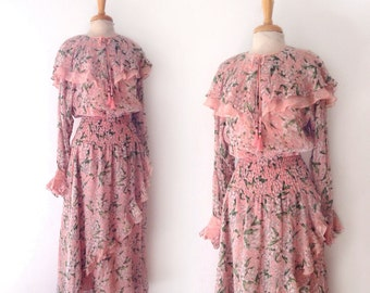 "1980s Diane Fres  floral silk pink ruffled ""lily of the valley"" print dress size 8 medium"