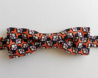 Adjustable Bow Tie in Orange, Navy Blue, White // 1940s Geometric Design // Retro, Bold, Men's Accessories