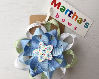 Pastel blue and green floral spotty double rosette hair bow