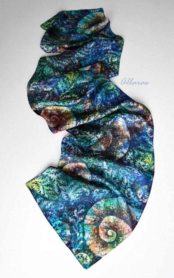 painted silk scarf fern green teal silk scarf ammonite