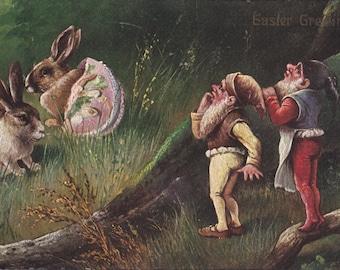 German Easter Gnomes- 1900s Antique Postcard- Edwardian Fantasy- Fabrege Eggs- Easter Bunny- Rabbits- Novelty Art- Paper Ephemera- Used