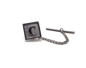 Letter Initial C Vintage Tie Tack Swank Brushed Silver Tone Mid Century Mens Gift Fathers Day Birthday Anniversary