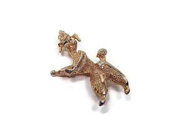 Vintage Poodle Brooch Standing Dog Figural Pin Animal Jewelry Textured Gold Tone Mid Century