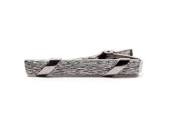 Vintage Tie Clip Clasp Textured Silver Tone Mid Century Mens Formal Hipster Jewelry Gentleman Jewellery Suit Accessories