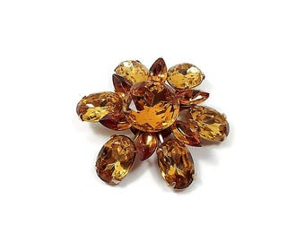 Large Vintage Rhinestone Brooch Amber Citrine Color Gold Tone Flower Spring Floral Mod Jewelry Prom Formal 1960s 60s Mid Century