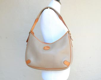 Vintage Dooney and Bourke Taupe and British Tan Pebbled All Weather Leather USA Tote Bag Shoulder Bag Purse Handbag Designer Boho Hipster