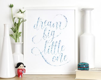 Nursery Print - Dream Big Quote Print - Nursery Wall Art - Christening Gift Print - Typography by Chatty Nora - Dream Big Little One
