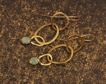 Brass Links Dangle Earrings, Large Drop Earrings, Milky Aquamarine OOAK Unique Boho Dangle Earrings, Gemstone March Birthstone, Gift for her