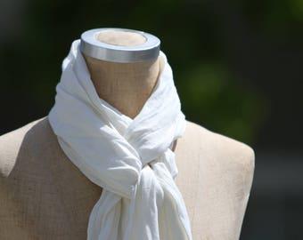 White Linen Scarf, Luxury Linen, Scarf with Twisted Fringe, Medium Weight Linen, Long Linen Scarf, Summer Linen, Linen Scarf, Resort Wear