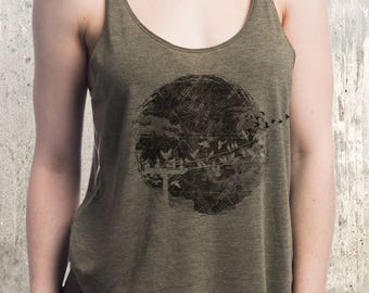 Bird's and Topography Tank Top - Women's Slouchy TriBlend Tank Top