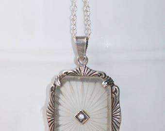 WOW Vintage Art Deco Camphor Glass Necklace,Genuine 1920s Sunray Sterling Silver Filigree Pendant,Lavaliere,Victorian,Art Deco Bride,Gift