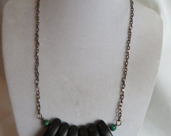 "18 1/2"" Walnut Necklace, necklace, walnut, wooden"