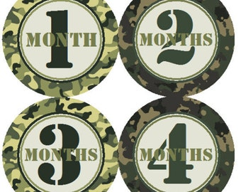 Baby Month Stickers Army Green Camo Labels from 1 to 12 Months in Hunting Camoflauge Onesie Woodland Stickers Month to Month Photo Stickers