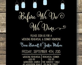Printed Rehearsal Dinner Invitation - Rustic Wedding Mason Jars and Sparkly Lights -  Wording can be changed