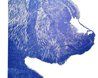 Blue Bear woodcut