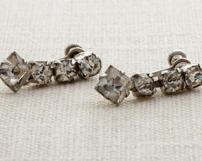 Vintage Rhinestone Earrings Clip On Dangle Silver Clipons | Vtg 7B B