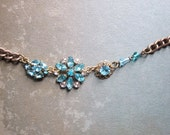 Vintage Assemblage Necklace with Sparkly Turquoise Rhinestones / Festive Statement Necklace / Boho Chic / OOAK
